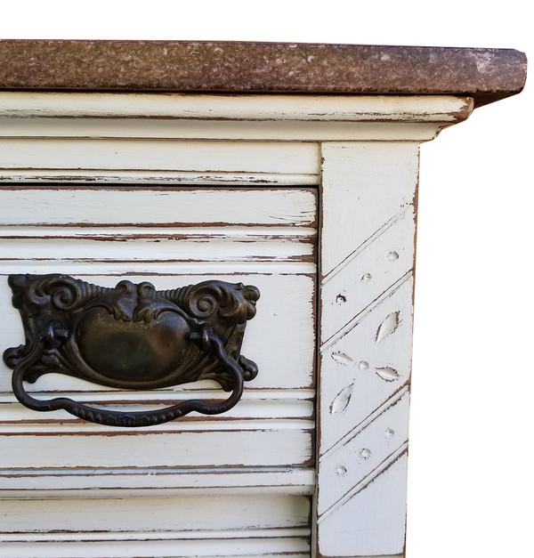 Eastlake Marble Top Dresser top corner detail