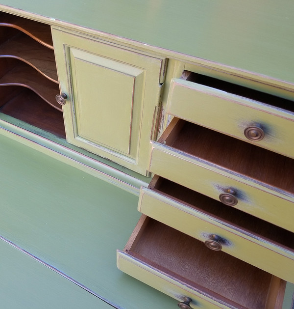 Olive Green Secretary Open Drawer Detail