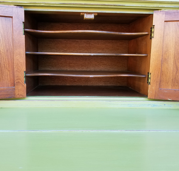 Olive Green Secretary open cabinet doors