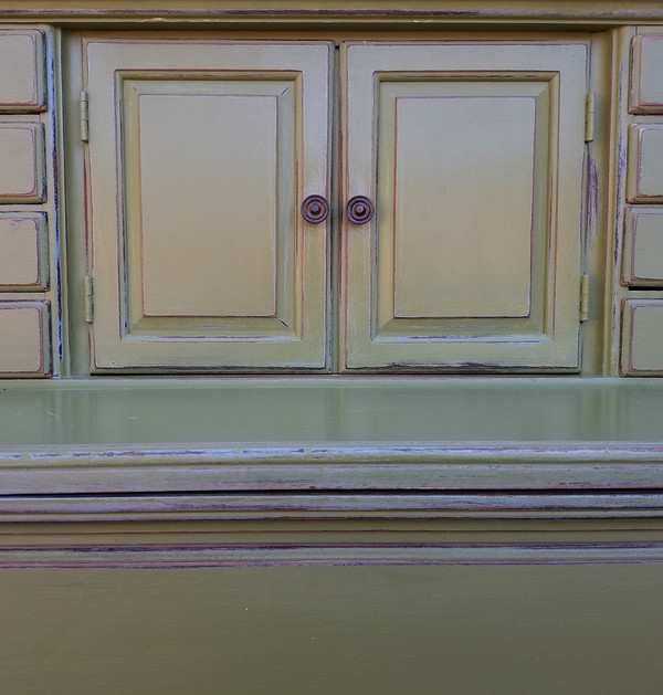 Olive Green Secretary cabinet door detail