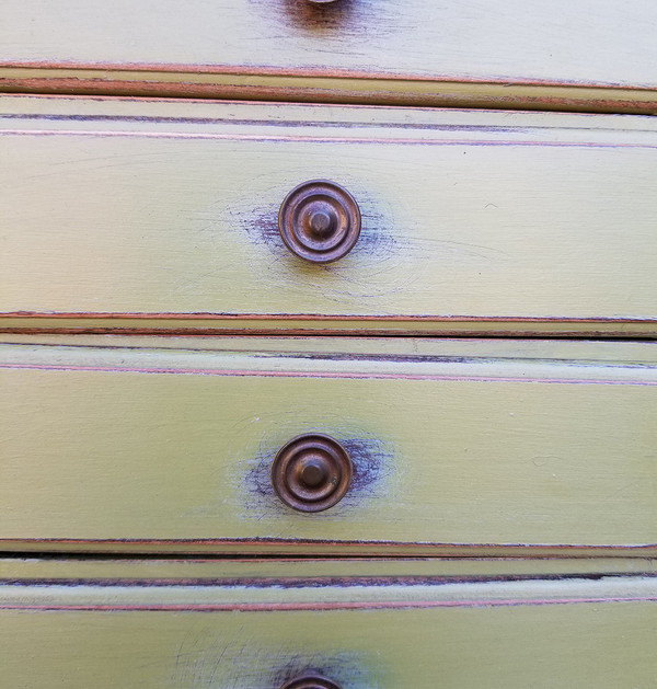 Olive Green Secretary Drawer detail