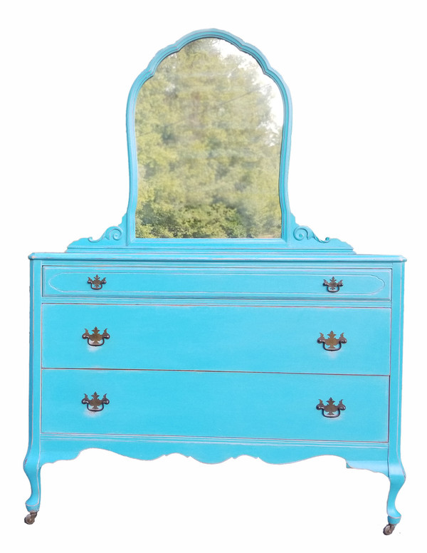 French Victorian Style Dresser with Mirror