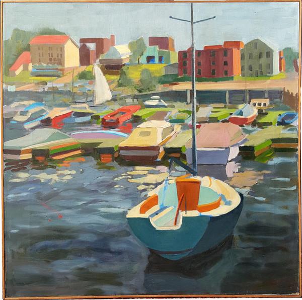 Harbor Scene - Oil on Canvas by Lois Foley