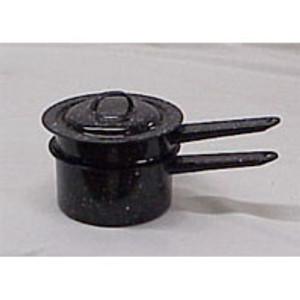 BLACK ENAMELWARE DOUBLE BOILER. 1-1/2 QT