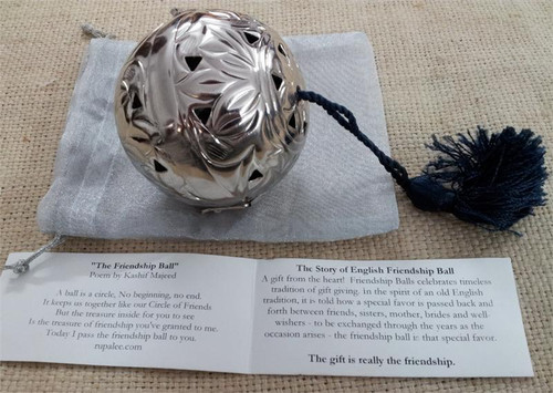 Silver Friendship Ball Embossed Floral - Best Seller!!! - In Stock