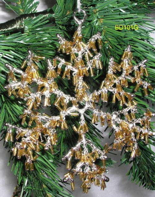 """Snowflake. Jewelry grade beading that dangles. 4"""". Gold.  BD101G"""