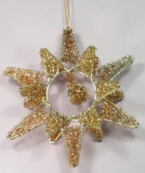 Star. 3 D Nakshi on wire frame. 6 inches. Gold  NA11G