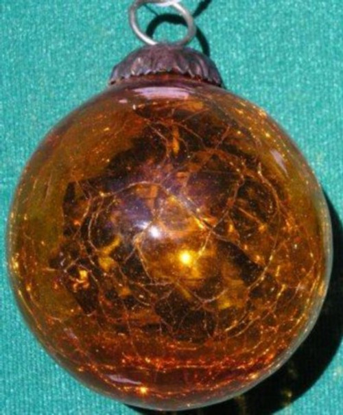 Ball Kugel glass Crackle Handblown. 3 inches Gold Amber  GC04G