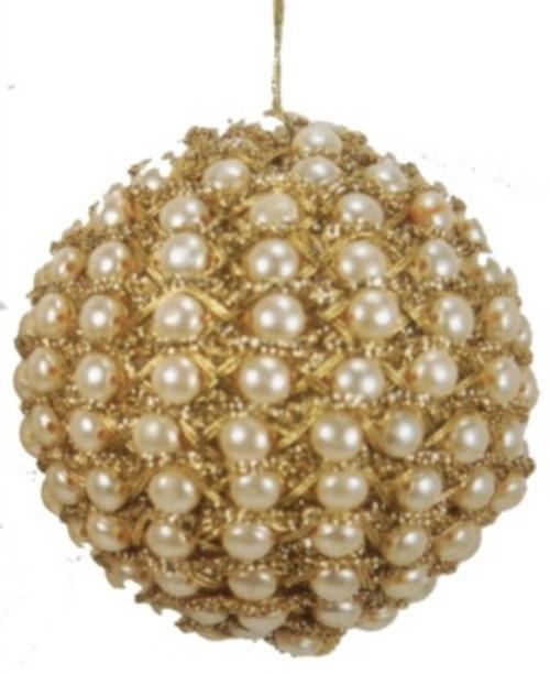 "Ball. Gold pearl braid. 3"". Gold and ecru.  BL07"