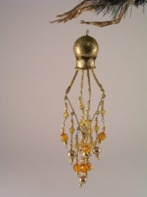 Drop.  Glitter Gold diamonds with beads.8 inches. Gold  DB08