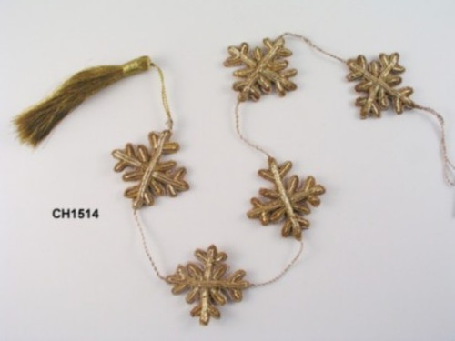 Garland. Zardozi Snowflake. Gold. 3'.  CH1514G