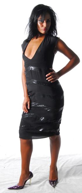 4005 Raquel Chevron Dress by Ojasvy