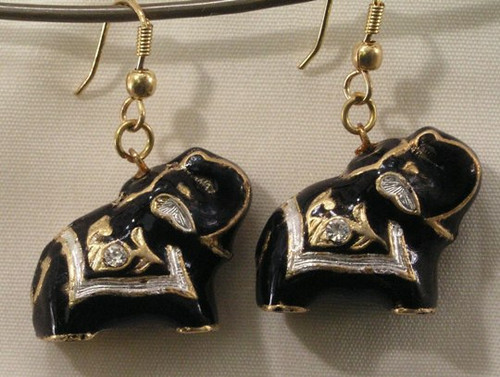 Elephant Earrings. Black.