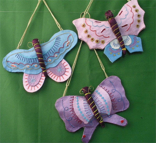 Silk Butterfly Christmas Ornament A101LB. Limited stock