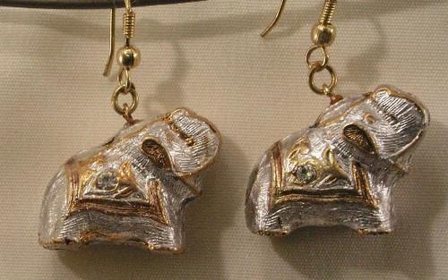 Elephant Earrings. Ecru