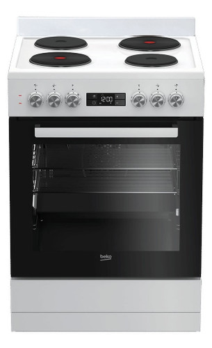 60cm Solid Hotplate Upright Cooker White