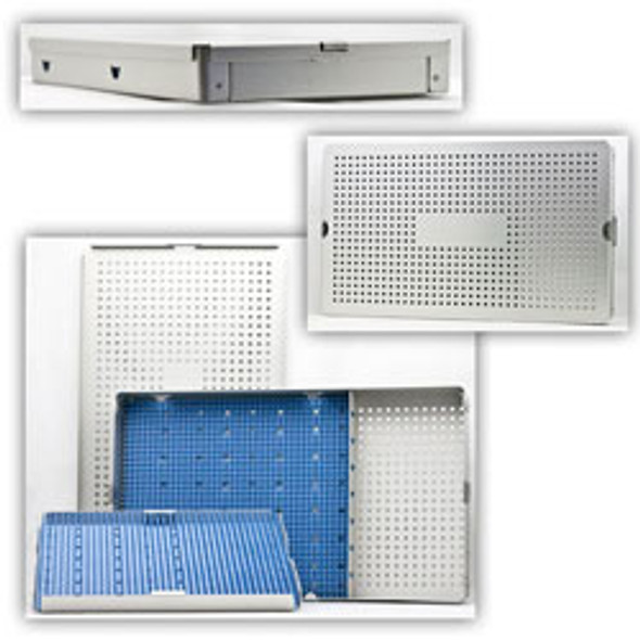 Aluminum Sterilization Tray Extra Large Double Layer With Cannula Slots (CalTray A6000)