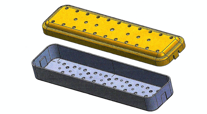 PST Scope Sterilization Tray 2.6'' x 12.0'' x 1.5''  (2 Slots)