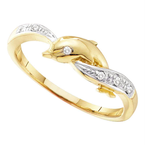 10kt Yellow Gold Womens Round Diamond Two-tone Dolphin Fish Animal Ring .03 Cttw