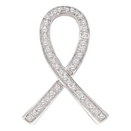 10kt White Gold Womens Round Diamond Awareness Ribbon Pendant 1/10 Cttw