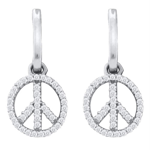 10k White Gold Womens Diamond Peace-sign Dangle Earrings 1/4 Cttw