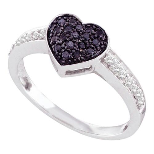 10kt White Gold Womens Round Black Color Enhanced Diamond Heart Cluster Ring 1/3 Cttw