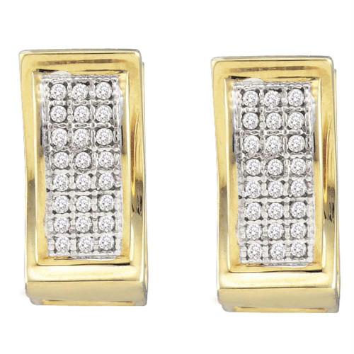10kt Yellow Gold Womens Round Diamond Triple Row Huggie Earrings 1/6 Cttw