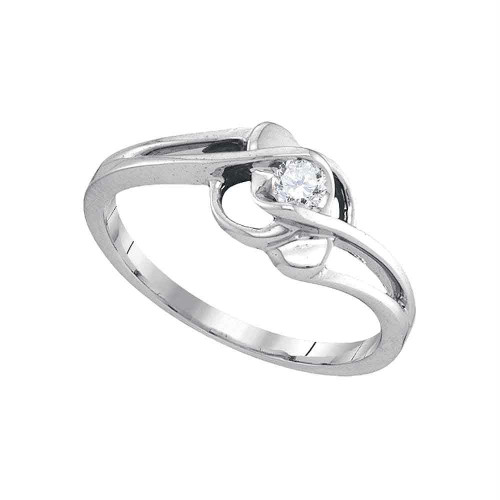 10kt White Gold Womens Round Diamond Solitaire Promise Bridal Ring 1/6 Cttw - 90037-6.5