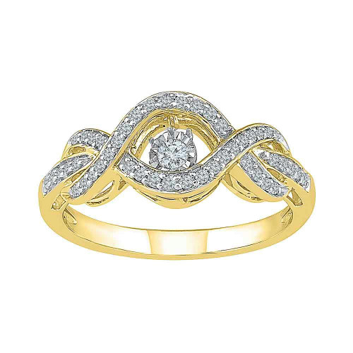 10kt Yellow Gold Womens Round Diamond Moving Twinkle Solitaire Bridal Wedding Engagement Ring 1/4 Cttw