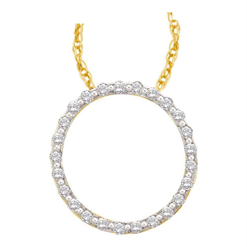 14kt Yellow Gold Womens Round Diamond Circle Outline Pendant 1/2 Cttw - 22863