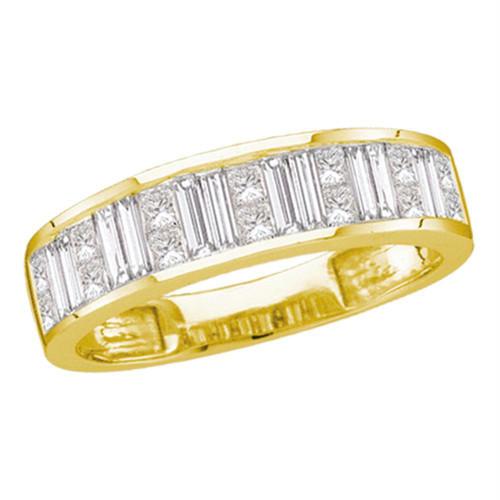 14kt Yellow Gold Womens Baguette & Princess Diamond Wedding Anniversary Band 1.00 Cttw