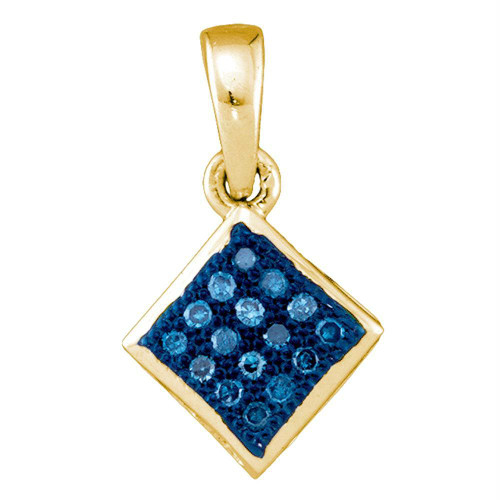 10kt Yellow Gold Womens Round Blue Color Enhanced Diamond Square Pendant 1/20 Cttw