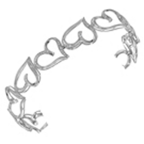 10kt White Gold Womens Round Diamond Heart Love Bangle Bracelet 1/8 Cttw