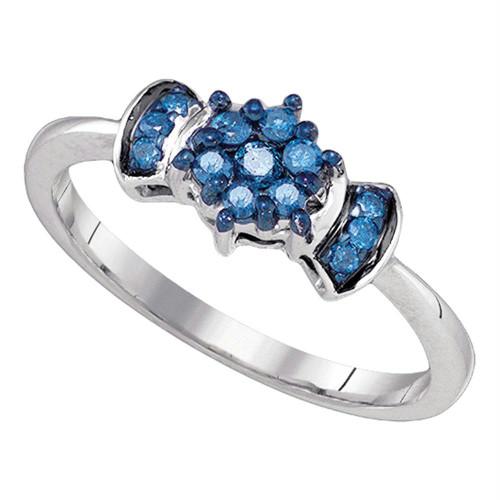 10K White Gold Womens Blue Color Enhanced Round Diamond Flower Cluster Ring 1/4 Cttw