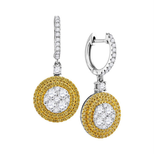 18kt White Gold Womens Round Yellow Diamond Circle Frame Cluster Dangle Earrings 1-5/8 Cttw