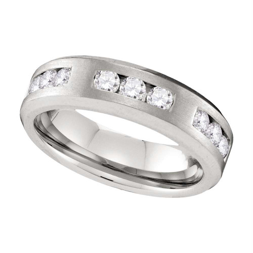 10k White Gold Mens Round Diamond Wedding Anniversary Band Ring 1.00 Cttw - 109599-10.5