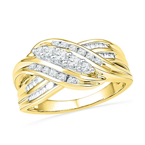 10kt Yellow Gold Womens Round Diamond 5-Stone Crossover Band Ring 1/2 Cttw