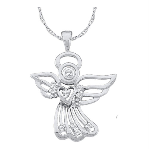 14kt White Gold Womens Round Diamond Guardian Angel Pendant 1/10 Cttw