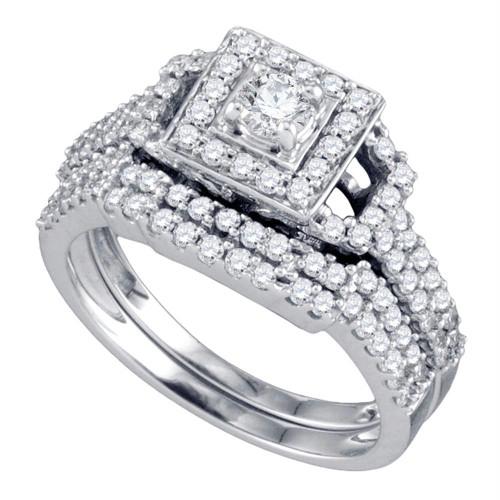 14kt White Gold Womens Round Diamond Square Halo Bridal Wedding Engagement Ring Band Set 1.00 Cttw - 72531-10.5