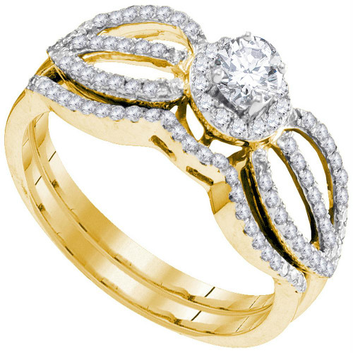 10kt Yellow Gold Womens Round Diamond Bridal Wedding Engagement Ring Band Set 1/2 Cttw - 95320
