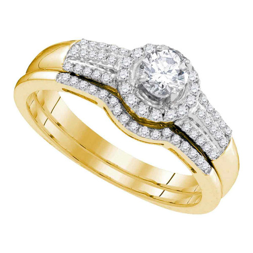 10kt Yellow Gold Womens Round Diamond Bridal Wedding Engagement Ring Band Set 3/8 Cttw - 95301