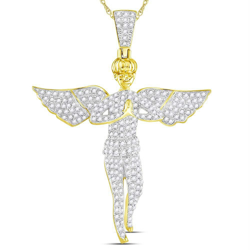 10kt Yellow Gold Mens Round Diamond Angel Wings Cherub Charm Pendant 1.00 Cttw