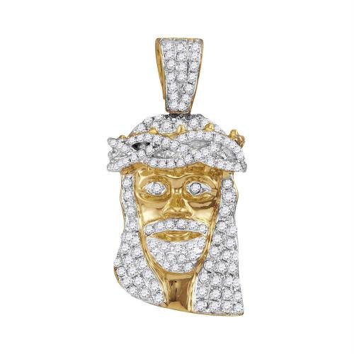 10kt Yellow Gold Mens Round Diamond Jesus Christ Messiah Head Charm Pendant 3/4 Cttw - 102687