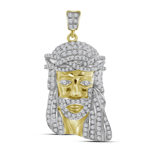 10kt Yellow Gold Mens Round Diamond Jesus Christ Head Messiah Charm Pendant 3/4 Cttw