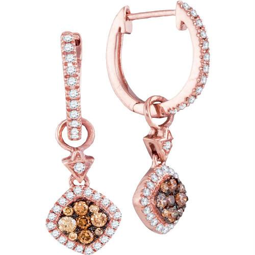 14kt Rose Gold Womens Round Cognac-brown Color Enhanced Diamond Hoop Square Dangle Earrings 1/2 Cttw