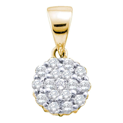 14kt Yellow Gold Womens Round Diamond Flower Cluster Pendant 1/4 Cttw - 46653