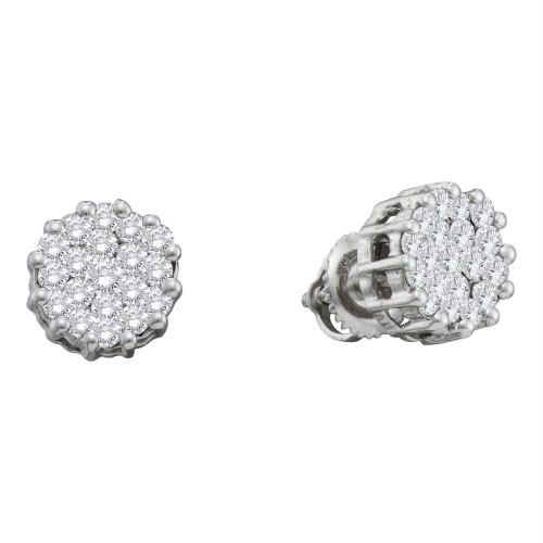 14kt White Gold Womens Round Diamond Flower Cluster Screwback Earrings 1.00 Cttw - 46601