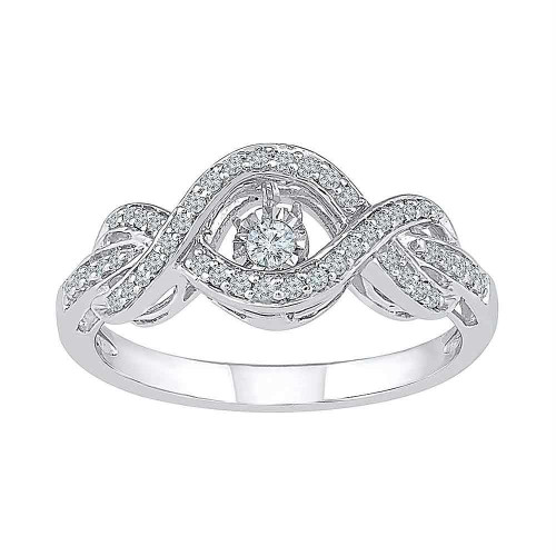 10kt White Gold Womens Round Diamond Moving Twinkle Solitaire Bridal Wedding Engagement Ring 1/4 Cttw