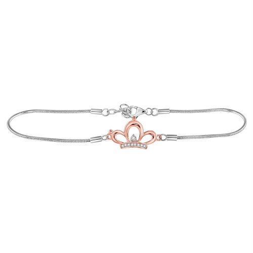 Sterling Silver Womens Round Diamond Crown Tiara Fashion Bracelet 1/20 Cttw