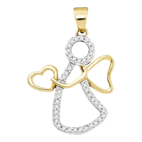 10kt Yellow Gold Womens Round Diamond Guardian Angel Heart Pendant 1/8 Cttw
